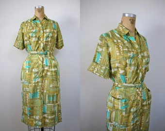 vintage 1950s shirt dress / 1960s green geometric shirtwaist dress / 50s 60s cotton day dress / kenny classics button front / size medium