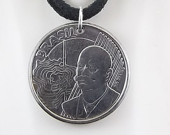 2008 Brazilian Coin Necklace, Mens Necklace, Womens Necklace, 50 Centavos, Coin Pendant, Leather Cord