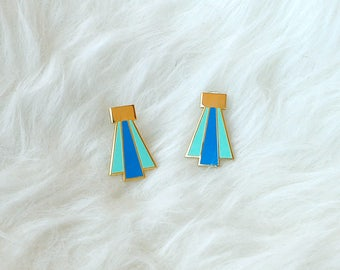 Enamel Earrings Gold Blue Deco Design