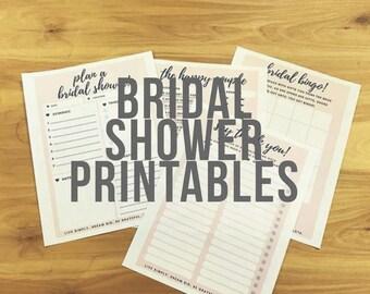 Chic Blush Bridal Shower Printables