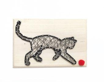 Moka, the playing cat - Cat sign -  Cat decor - DIY kit - Cat String art kit - All included - creative kit