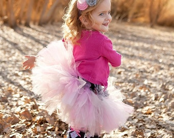 Valentine's Day Tutu - Pink Gray/Silver Tutu - Cherished - Custom Sewn Tutu - Up to 8'' Length - sizes Newborn up to 5T
