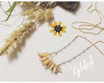 Murex Necklace — mermaid gold seashell fragment unique nashville ornate wedding rosary chain aquamarine WIRE WRAPPED