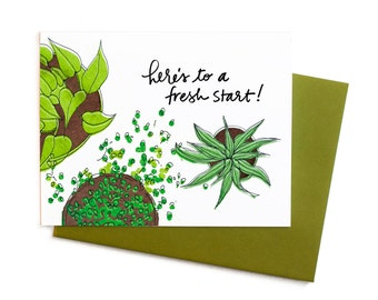 New Year's Card, Here's to a Fresh Start Single Greeting Card
