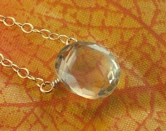 Lemon Quartz Necklace Oval Solitaire Gemstone - Dew Drops - Handmade Winter Fashion