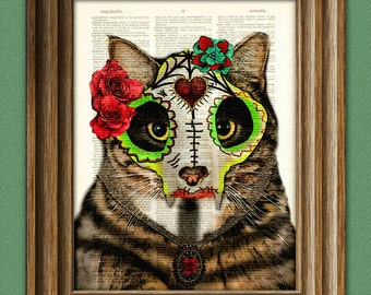 Day of the Dead Cat with Skull Mask 'El Día Del Gato'  illustration beautifully upcycled dictionary page book art print