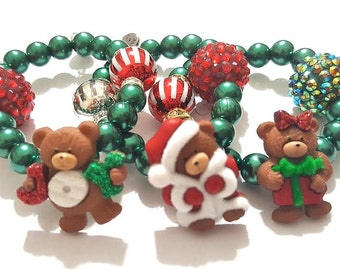 Christmas Bracelets, Holiday Bracelets, Girls Jewelry, Stocking Stuffers, Christmas Gifts, Stretchy, Handmade Custom Beaded Jewelry