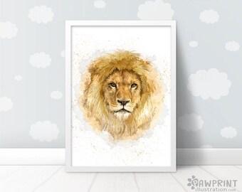 Lion Painting Safari Nursery Print - kids room décor baby animal prints, safari nursery art lion print animal nursery art baby shower gift