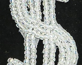 Choice of Size Dollar Sign Appliqué, All Iridescent White  Beaded,   -B185-1749-B189