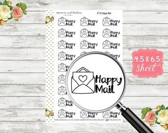 Happy Mail Planner Stickers - Doodle Stickers - Black & White Stickers - Bullet Journal Stickers - Travelers Notebook - BUJO Stickers - D110
