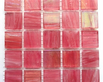 "20mm (3/4"") Dark Rose Pink Translucent Marbled BEVELED Glass Mosaic Tiles//Mosaic//Mosaic Supplies"