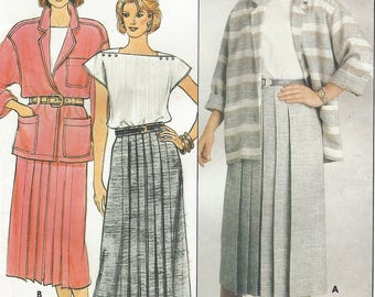 80s Evan Picone Womens Oversized Jacket, Front Pleated Skirt and Top Butterick Sewing Pattern 3176 Size 8 10 12 Bust 31 1/2 to 34 FF