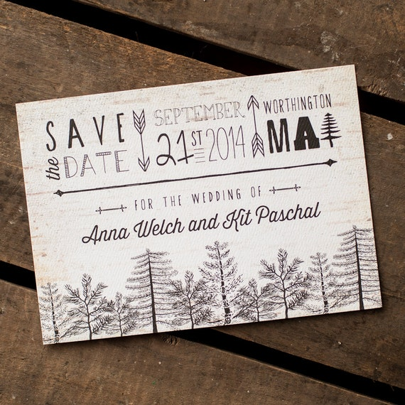 Tree Save the Date, Rustic Save the Date - The Birchbark Forest - save the date postcard, Forest, woodland wedding, typography, birchbark