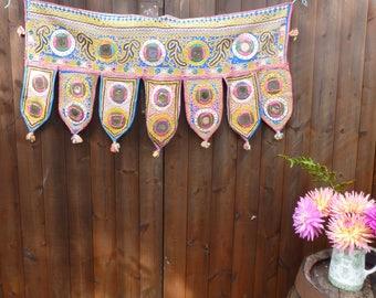 Vintage Kutch Embroidered Textile Toran 90x48cm
