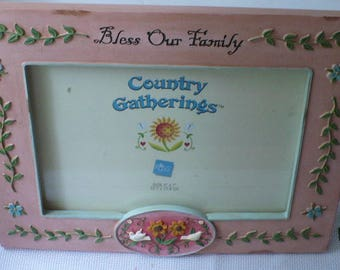 Family Photo Picture Frame, Bless Our Family, Family Photo Frame, Peach Frame With Heart and Birds
