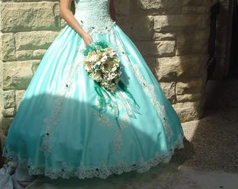 Mint/Teal/Aqua Princess Ballgown
