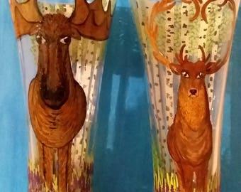 Moose and Deer in Birchwood