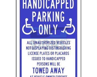 Handicapped Parking Only - aluminum sign