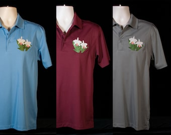 Cattleya Orchid Embroidered Polo Shirt