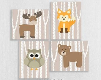 CANVAS Woodland Nursery Decor - Woodland Friends Nursery - Baby Woodland Animals - Playroom Decor - Birch Tree Forest Animals, Moose Owl Fox