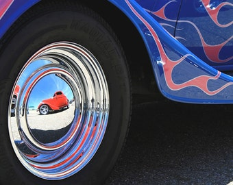 Classic Car Hot Rods Art Photo - Red Hot Rod Reflection 8x10 Car Art - Blue Old Car Pink Flames Photograph - Vintage Car Photography - Retro