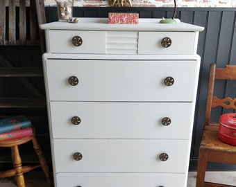 Vintage chest of drawers, Dresser, Bedroom furniture, Painted chest of drawers, Chest of drawers,