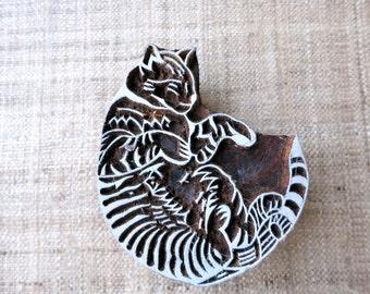 Lazy Cat Stamp / Block Print Stamp / Wooden Printing Stamp Cute Animal Stamp