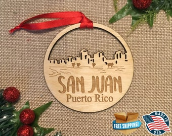 San Juan Puerto Rico Ornament *** Skyline Christmas Holiday Ornament ***