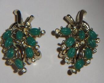 Kramer Jade Jadeite Colored Rhinestone Floral Clip Earrings Signed 1950's