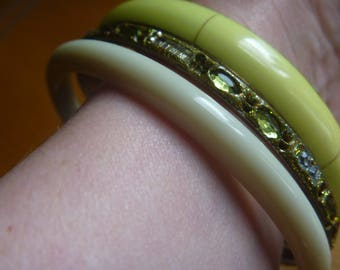 vintage stacking bangles, three green and cream stacking bracelets