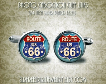 Route 66 Cuff Links, Travel, American Highway, Historic Road Signs, Men's Accessory, Unique Cuff Links, Gift for men, Father's Day gift