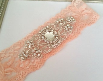Peach Lace and Rhinstone Garter, Stretch Lace Garter, Keepsake Garter, Toss Garter, Bridal Garter