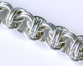 Orbital Weave Chainmaille Bracelet in Argentium Sterling Silver - Medium Weight