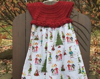 Dolly and me dress, doll dress,american girl doll,DrSeus, girls dress, 18 inch doll dress, Christmas Seus ,Christmas dress, stocking gift,