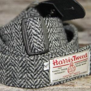 1.6'' Harris Tweed guitar strap. Handmade guitar strap in leather and Harris Tweed, adjustable guitar strap