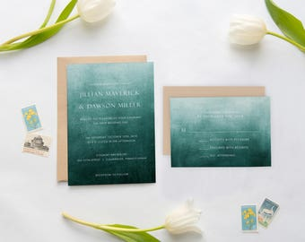 Wedding Invitations, Teal Wedding Invitations, Watercolor Wedding Invitations, Teal Ombre wedding invitations 0102