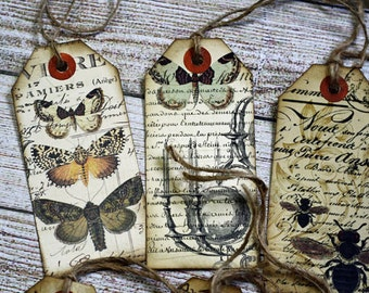 Vintage Entomology Tags Vintage Ephemera Gift Journaling Hangtags Aged Distressed Set of 8