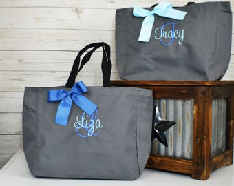 Bridesmaid Gift, Monogrammed Tote Bags, Set of 1,2,3,4,5,6,7,8,9 Personalized Bridesmaids Bags, Wedding Tote Bag, Maid Of Honor Gift