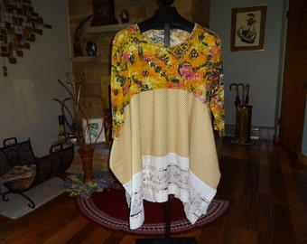 Upcycled Women's Tunic Top sixe XL