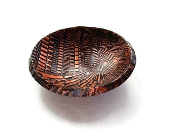 Ring Dish , Copper Color Jewellery Bowl, Made of Polymer Clay
