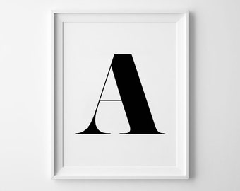 A Letter Print, wall art prints, alphabet print, typography, black and white, scandinavian, minimalist, wall decor, 8x10, 11x14, a4, a3