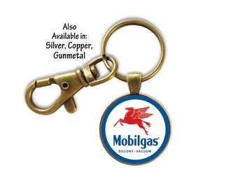 Key Ring, Old Gasoline Key Ring, Vintage Gas Key Ring, Gift for Dad, Gift for Him, Retro Gasoline Key Ring