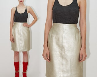 ESCADA by Margaretha Ley - Metallic Silver Platinum High Waisted Leather Pencil Above the Knee Skirt, 80s, XS / Small