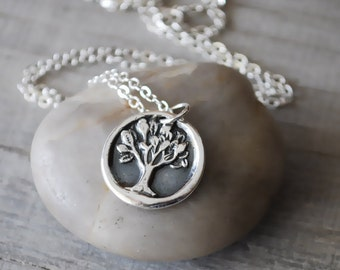 Silver Tree of Life Necklace -  Sterling Silver Chain - Silver Wax Seal Tree Charm - Handcrafted Artisan Jewelry