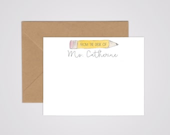 No. 2 Pencil Personalized Teacher Notecards - Back to School - Hand Lettering - Personalized Stationery - Teacher Gift - Sets of 10 -