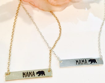 Mama Bear Bar Necklace-Bear Necklace-