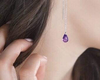 Amethyst Earrings, 14K Gold Earrings, White Gold, February Birthstone Earrings, Amethyst Drop, Birthday Gift, Gold Chain Threader Earrings