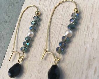 Blue + Black + Pearl Dangles