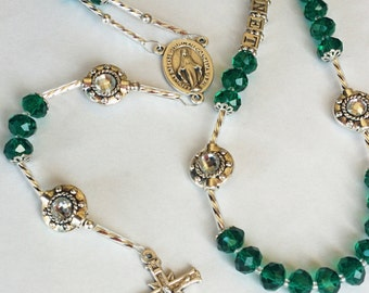 Emerald Silver Necklace Rosary