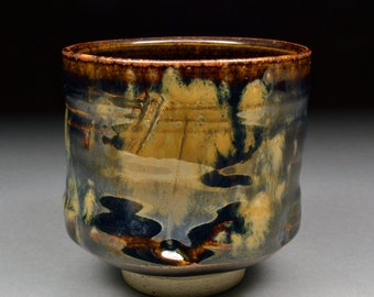 Rich Handmade Tenmoku and Copper and Rutile Glazed Yunomi Tea Cup